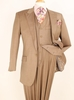 Apollo King 100% Wool Taupe 1 Button 3 Piece Wide Leg Suit C-092