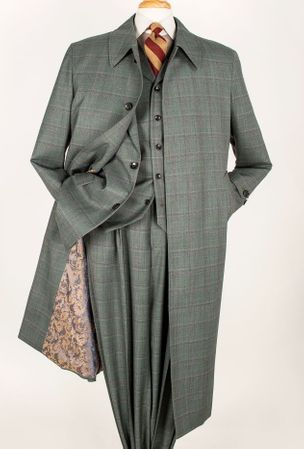 Apollo King All Wool Sage 4pc Coat and Suit Set H - click to enlarge
