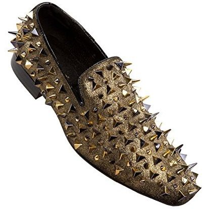 Asher Green Mens Gold Spiked Loafers AG5001