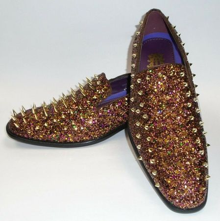 Mens Rust Bronze Spiked Prom Shoes Smoking Loafer 6788
