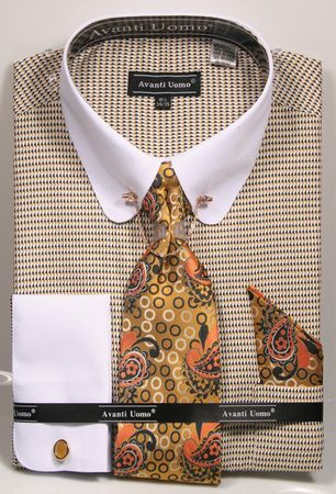 Avanti Mens Mustard Check 20s Style Round Collar Bar Dress Shirt DN75M - click to enlarge