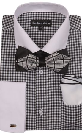 Milano Mens Black Check French Cuff Bow Tie Shirt Set FL628