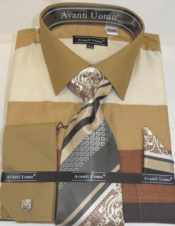 Avanti Big Mens Beige Rugby Stripe Dress Shirt Tie Set DN67MB - click to enlarge