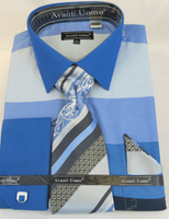 Avanti Big Mens Blue Rugby Stripe Dress Shirt Tie Set DN67MB