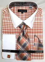 Avanti Big Mens Fashion Dress Shirt and Tie Set Cognac Plaid DN81M