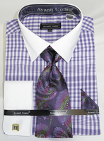 Avanti Big Mens Fashion Dress Shirt and Tie Set Purple Plaid DN81M