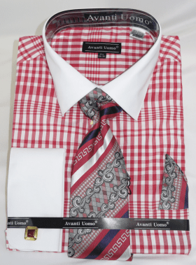 Avanti Big Mens Fashion Dress Shirt and Tie Set Red Plaid DN81M