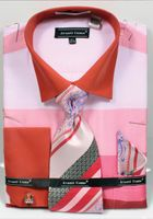Avanti Big Mens Pink Rugby Stripe Dress Shirt Tie Set DN67MB