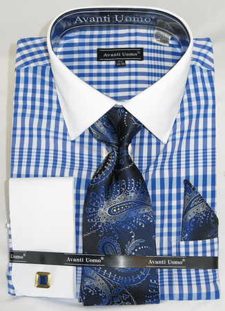 Avanti Big Mens Size Dress Shirt and Tie Set Royal Plaid DN81M - click to enlarge