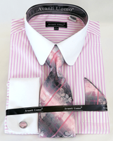 Avanti Big Mens Stylish Shirt and Tie Set Pink Stripe DN80M