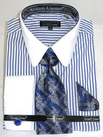 Avanti Big Mens Stylish Shirt and Tie Sets Royal Stripe DN80M - click to enlarge
