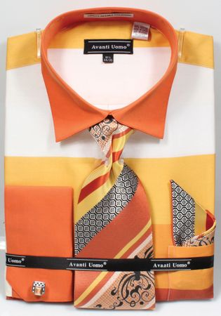 Avanti Big Mens Yellow Rugby Stripe Dress Shirt Tie Set DN67MB - click to enlarge