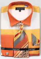 Avanti Big Mens Yellow Rugby Stripe Dress Shirt Tie Set DN67MB