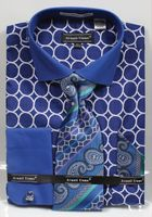 Avanti Mens Big Size Brlue Circle Link Dress Shirt Tie Set DN68MB