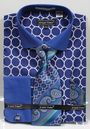 Avanti Mens Big Size Brlue Circle Link Dress Shirt Tie Set DN68MB - click to enlarge