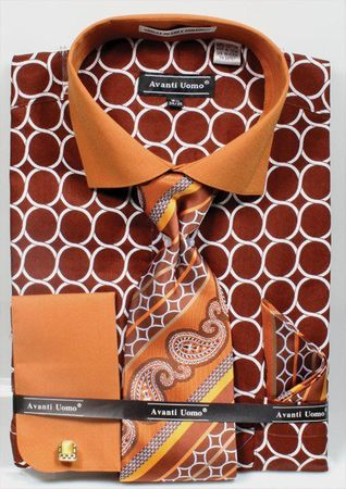 Avanti Mens Big Size Brown Circle Link Dress Shirt Tie Set DN68MB
