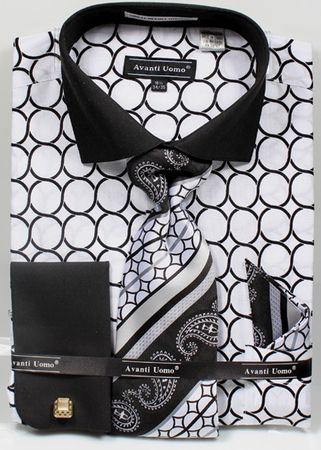 Avanti Mens Big Size White Circle Link Dress Shirt Tie Set DN68MB