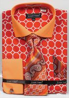 Avanti Mens Big Size Orange Circle Link Dress Shirt Tie Set DN68MB