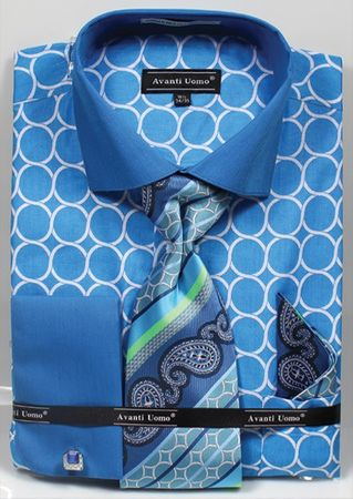 Avanti Mens Big Size Turquoise Circle Link Dress Shirt Tie Set DN68MB