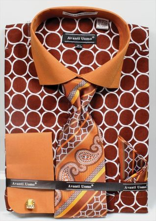 Avanti Mens Brown Circle French Cuff Dress Shirt Tie Set DN68M - click to enlarge