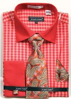 Avanti Mens Coral Gingham Pattern French Cuff Shirt Tie Combo DN70M