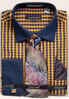 Avanti Mens Mustard Gingham Pattern French Cuff Shirt Tie Combo DN70M