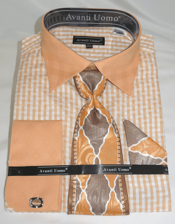 Avanti Peach Zig Zag Pattern Mens Dress Shirt Tie Hanky Combo DN76M - click to enlarge