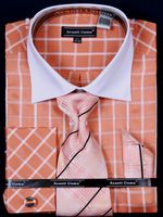 Avanti Uomo Coral Square Pattern  French Cuff Dress Shirt Tie Combination DN56M  Size 17.5 34/35 Final Sale