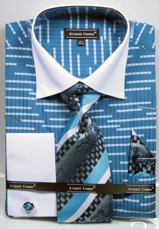 Avanti Uomo Mens Blue Big Size Fancy Pattern Shirt Tie Set DN66MB - click to enlarge