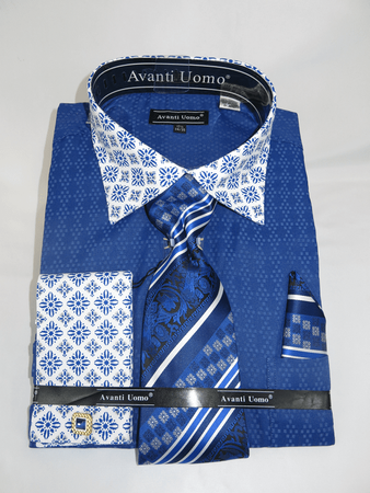 Avanti Uomo Blue Men's Tiling Pattern Tie Hanky Set DN69M - click to enlarge