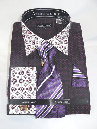 Avanti Uomo Dress Shirt Tie Hanky Set Purple Unique Pattern DN69M - click to enlarge