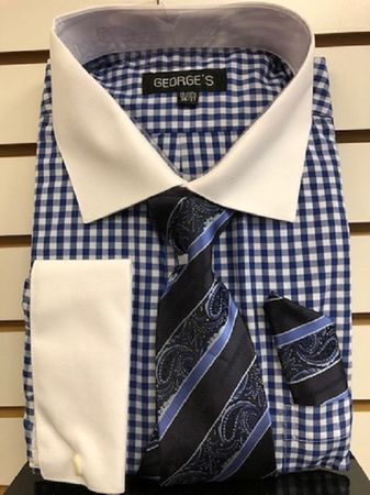 George Blue Gingham Pattern French Cuff Shirt Tie Combo  Size 19.5 36/37 Final Sale