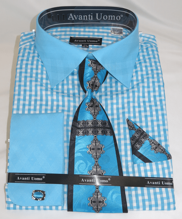 Avanti Uomo Men's Stylish Shirt and Tie Sets Aqua Pattern DN76M - click to enlarge