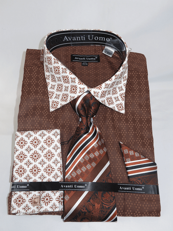 Avanti Uomo Mens Brown Unique Pattern Dress Shirt Set DN69M - click to enlarge