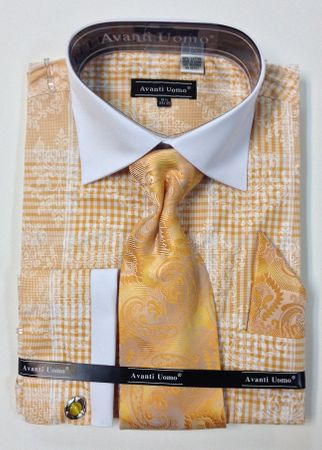 Avanti Uomo Mens Cotton Mustard Fancy French Cuff Shirt Set DN63M - click to enlarge