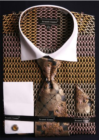 Avanti Uomo Mens Print Pattern 2 Tone Dress Shirt Tie Set DN61M - click to enlarge