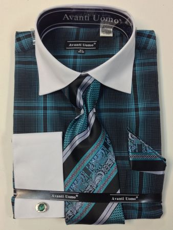 Avanti Uomo Mens Teal Bold Plaid French Cuff Shirt Tie Combo DN62M - click to enlarge