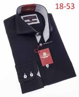 Axxess Mens High Collar Black White Stitch Shirt 18-06