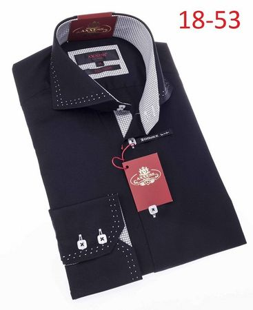 Axxess Mens High Collar Black White Stitch Shirt 18-53 - click to enlarge