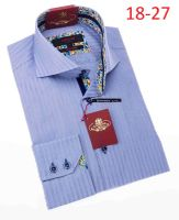 Axxess Shirt Fashion High Collar Mens Light Blue Stripe Style 18-27