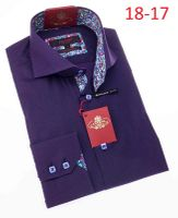 Axxess High Collar Mens Purple Button Down Shirt 18-17