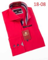 Axxess Shirt Fashion High Collar Mens Red Modern Fit Shirt 18-08