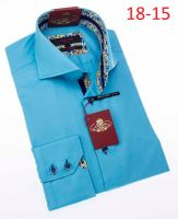 AxxessHigh Collar Mens Turquoise No Tuck Shirt 18-15