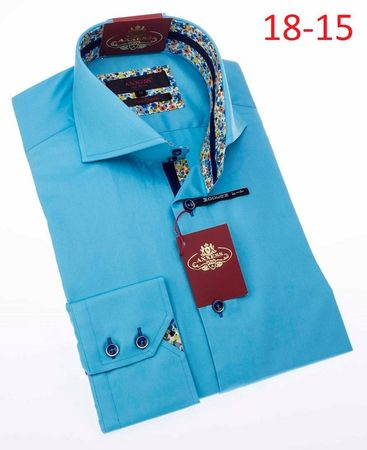 Axxess High Collar Mens Turquoise No Tuck Shirt 18-15 - click to enlarge