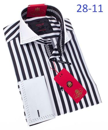 Axxess Shirt Mens Black White Stripe Fitted Shirt 28-11 - click to enlarge