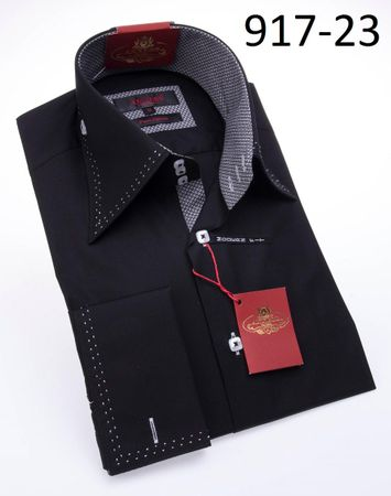 Axxess Shirt High Collar Mens Black White Stitch Modern Fit Shirt 917-23 - click to enlarge