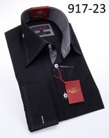 Axxess Shirt High Collar Mens Black White Stitch Modern Fit Shirt 917-23