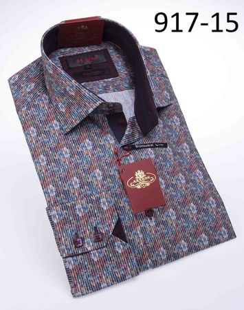 Axxess Shirts High Collar Mens Blue Floral No Tuck Club Shirt 917-15 - click to enlarge