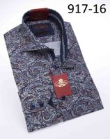 Axxess Shirts High Collar Mens Blue Paisley No Tuck Shirt 917-16