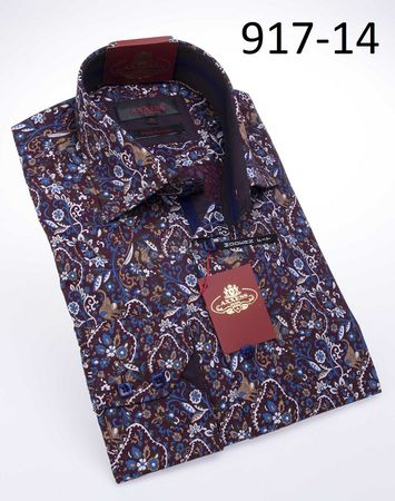 Axxess Shirts High Collar Mens Burgundy Pattern Button Down 917-14 - click to enlarge